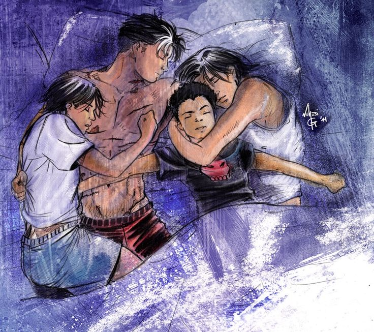 Sleeping birds in their nest, awww all the robins cuddling with eachother! How precious! So dick is resting next to Damian on the right and Tim is sleeping on Jason on the left <3