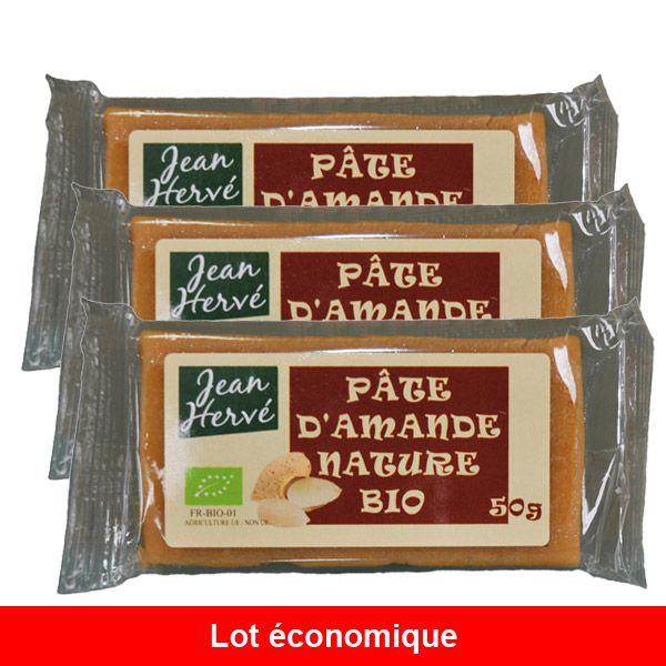 Lot de 3 Pâtes d'amandes natures - 50g Jean Hervé   Acheter sur Greenweez.com
