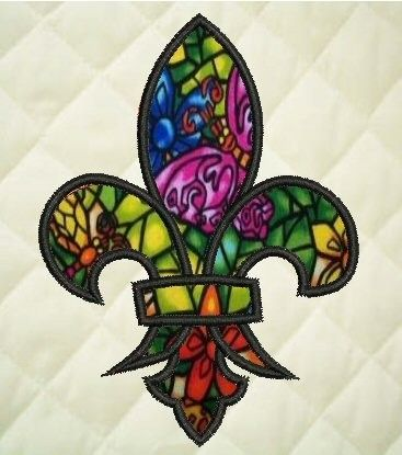 stained glass look fleur de lis
