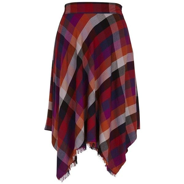Melissa Mccarthy Seven7 Plus Asymmetric Hem A Line Plaid Skirt (910 ARS) ❤ liked on Polyvore featuring plus size women's fashion, plus size clothing, plus size skirts, plus size, pomegranate, plaid skirts, purple skirt, fringe skirt and pull on skirts