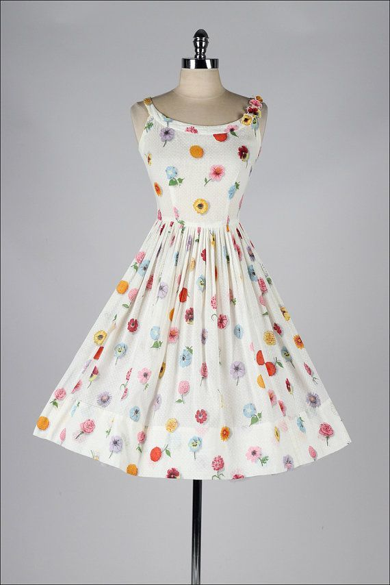 Buy the cheapest fashion @ www.kpopcity.net!! vintage 1950s white floral print cotton sun dress