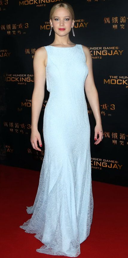 Look of the Day - Jennifer Lawrence - from InStyle.com Jennifer Lawrence graced the Beijing premiere of The Hunger Games: Mockingjay, Part 2 in a the prettiest pale blue silk-and-lace Dior Haute Couture evening gown, complete with diamond drop earrings.