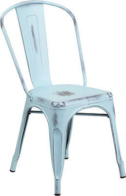 Industrial Style Antique Green Blue Metal Restaurant Chair For Indoor-Outdoor