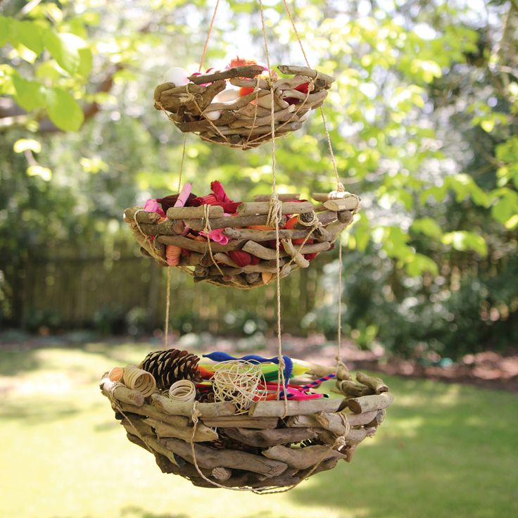 This 3 tier natural driftwood baskets look stunning hanging in the garden