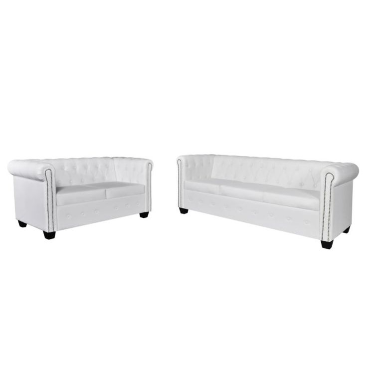 Chesterfield 5 Seat Faux Leather Sofa Set in White   Buy Lounge Sets