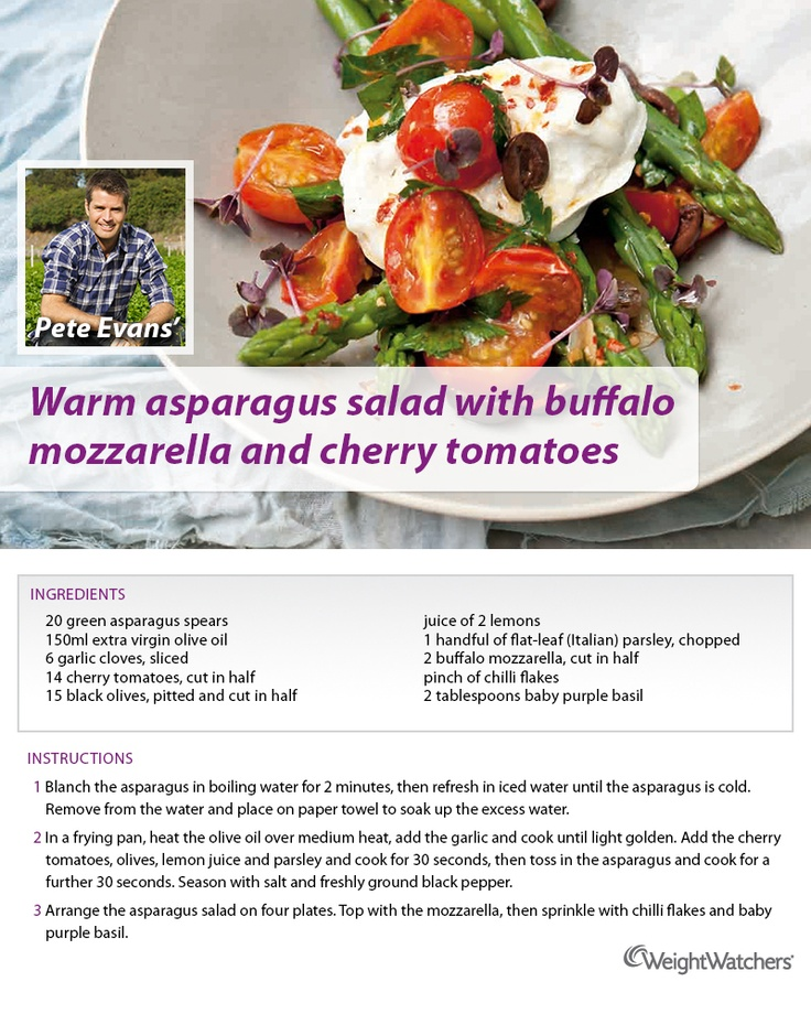 Warm asparagus salad with buffalo mozzarella and cherry tomatoes.
