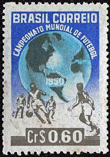 Selos do Brasil - 1940-1959 – Wikipédia, a enciclopédia livreSelo Comemorativo do Campeonato Mundial de Futebol de 1950 (Copa do Mundo de 50) - Cr$ 0,60