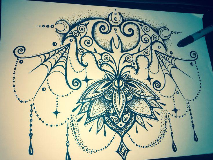 Bats, lotus mandala, tattoo design, spider webs