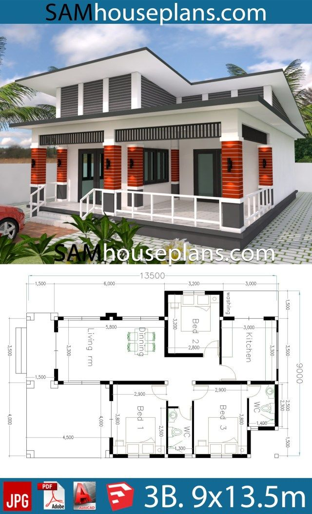 House Plans 9x13 5 With 3 Bedrooms Sam House Plans House Blueprints Small House Blueprints Affordable House Plans