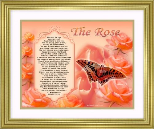 The Rose spiritual art poem about God's perfect plan is a gift to treasure. The exquisite 11 x 14 artwork is available in three colors and a choice of print only, canvas print, canvas framed, and silver and gold double-matted frames - all with free shipping in the US.