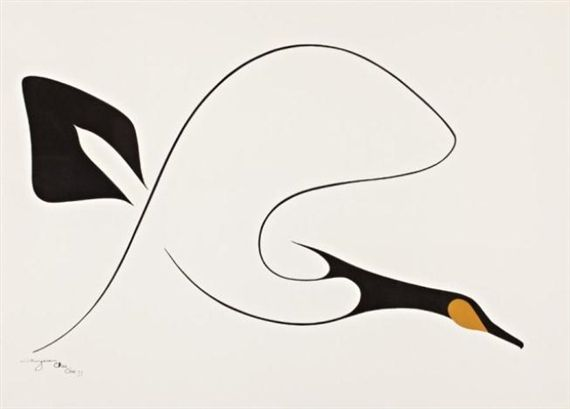 Artwork by Benjamin Chee Chee, Goose in Flight, Made of Acrylic & ink on paper