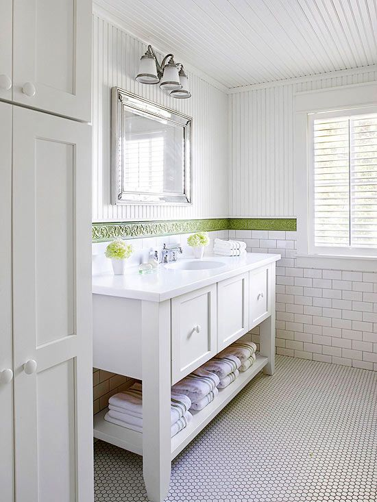 Mirror for ensuite bathrooms pinterest tile subway tiles and vanities - Cottage style bathroom design ...