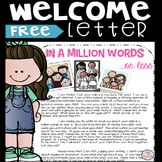 Classroom Welcome Letter Free