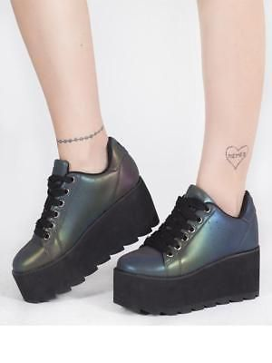 0823d3182f91 Y.R.U. Youth Rise up LALA Reflective Platform Sneakers Shoes punk ...
