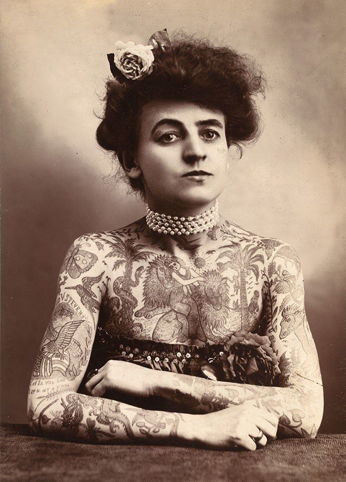 Maud Wagner, a circus performer and the first known female tattoo artist in the United States.
