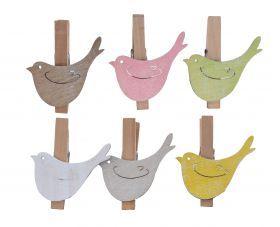 Пасхальные украшения из дерева :: :: КПЛ 6 клипов с птицей ДРЕВЕСИНЫ ЦВЕТ