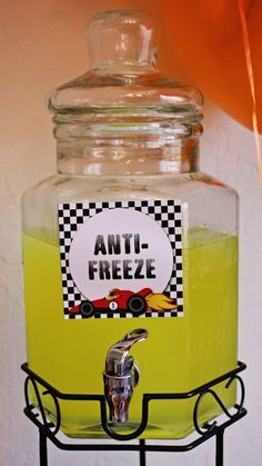 Hot Wheels party drink, anti-freeze (lemonade) or can even use hawaiian punch in blue or green