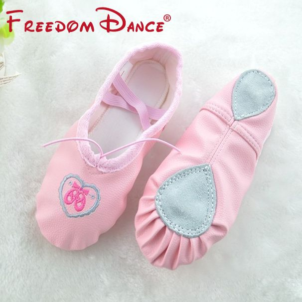Quantity Girls Women Leather Soft Split Outsole Ballet Dance Shoes Toe Shoes Children Fitness Shoes Pink Beige Slippers All Size