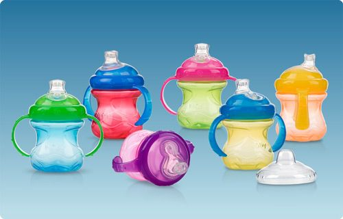 Nuby is also the company to buy sippy cups from. They have different kinds for different stages (even with straws) and kids love the soft spouts!