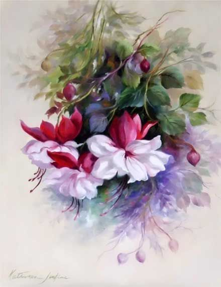 A most glorious painting of fuchsias by Kathwren Jenkins. Pattern available.