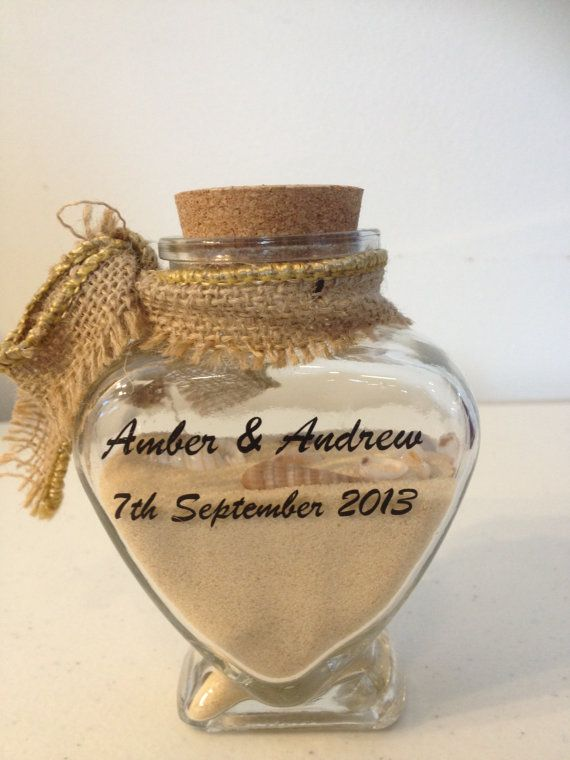 Wedding Favor - Beach Wedding Guest Favor - Personalized Wedding Favor - Custom Wedding Favor - Seashells and Sand in a Heart Shaped Bottle on Etsy, $44.50