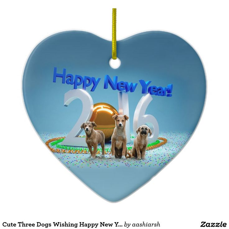 #Cute Three #Dogs Wishing Happy New Year 2016 Double-Sided #Heart #Ceramic #Christmas #Ornament #Xmas #merrychristmas #25dec #25thdecember #2016