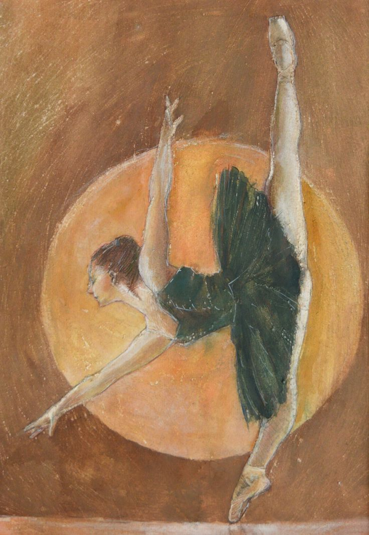 Pavel Kasparek: Dancer and the Sun / watercolor painting / 8 x 12 inch