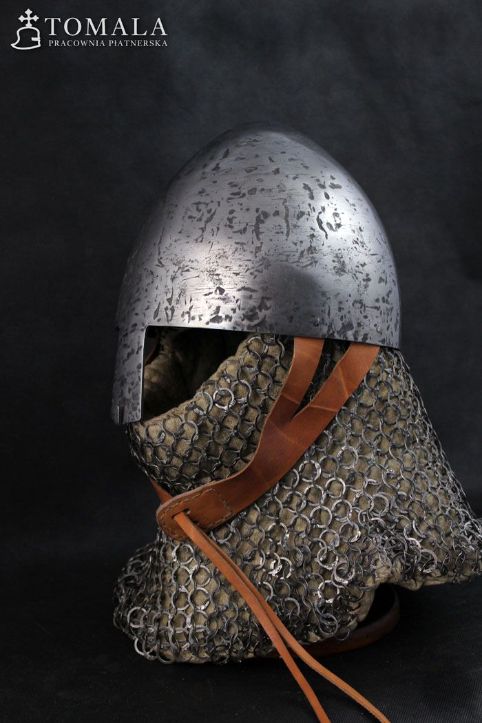 Nasal medieval helmet coif and chain mail medieval armor