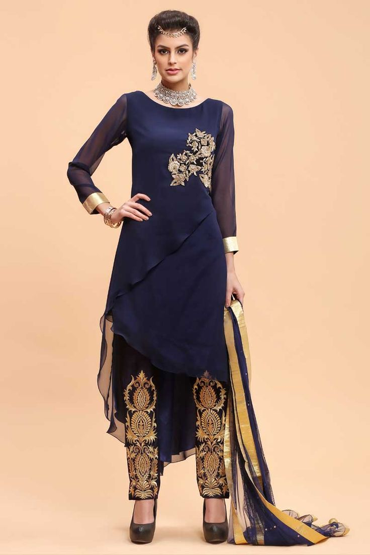 Navy Georgette Straight Suit Paint  http://www.andaazfashion.co.uk/salwar-kameez/trouser-suits/navy-georgette-straight-suit-paint-1691.html