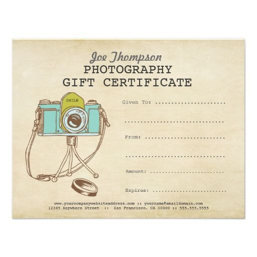 Photographer Photography Gift Certificate Template Custom Invitations
