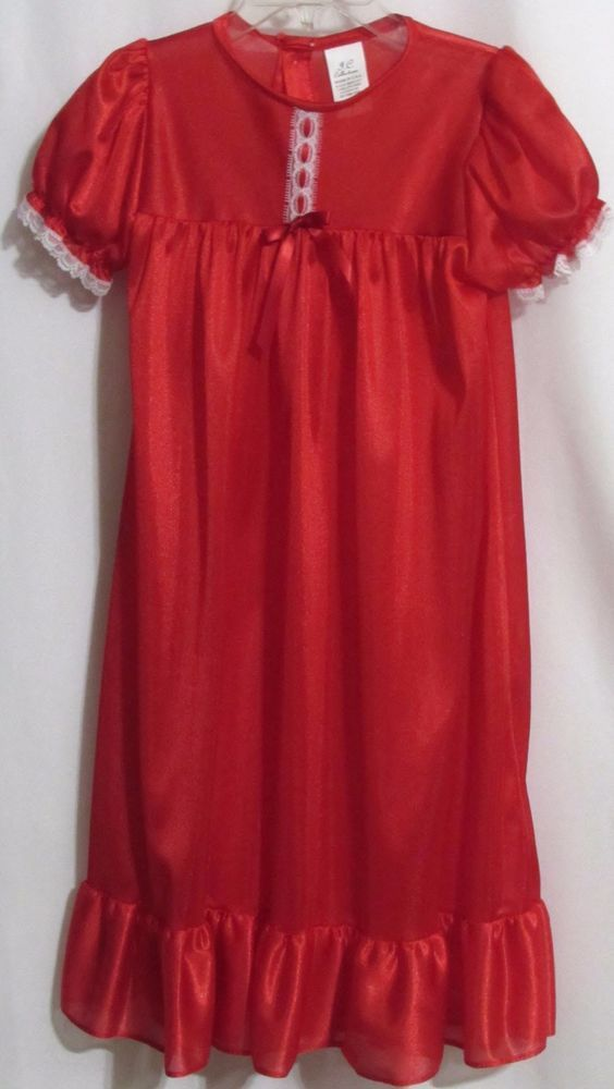 New Girls JC COLLECTIONS Red Silky White Lace Trim S/S Full Length Nightgown   4 #JCCollections #gown