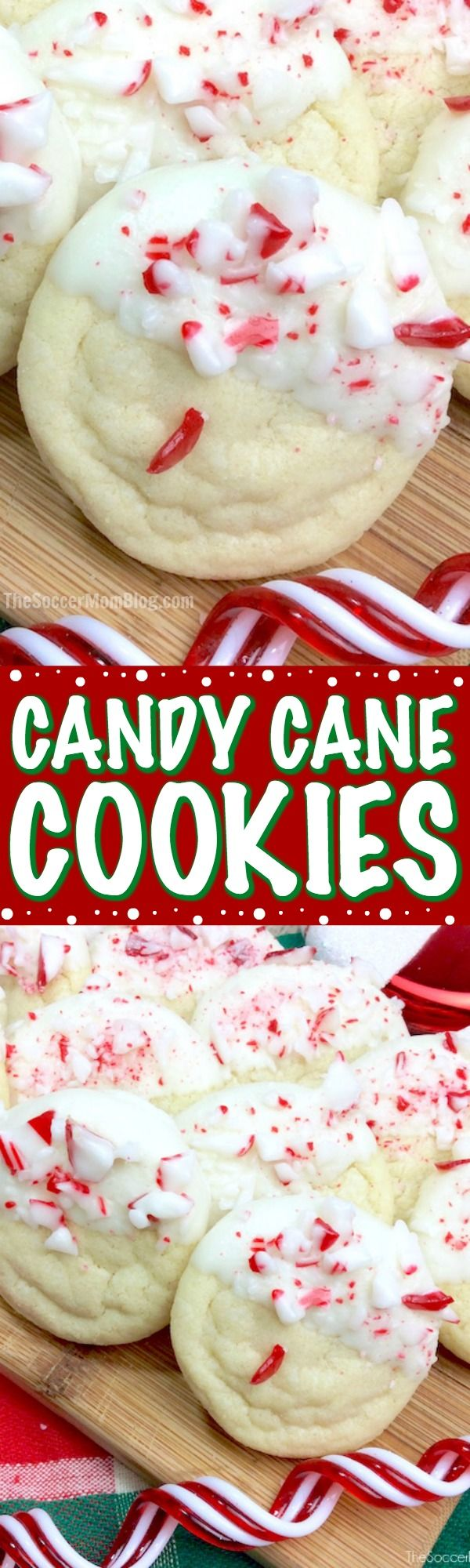 Peppermint sugar cookies dipped in white chocolate and dusted with candy cane pieces