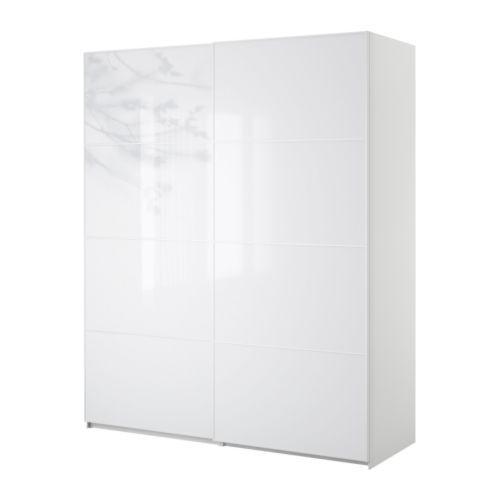 IKEA PAX  Wardrobe with sliding doors, white, Tonnes white   reflective shine, thin minimal lines
