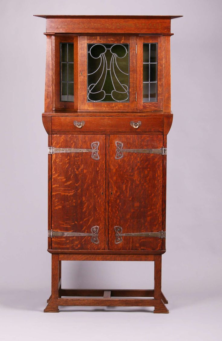 English Arts U0026 Crafts Oak Strap Hinge Cabinet With Leaded Glass. Possibly  Liberty U0026