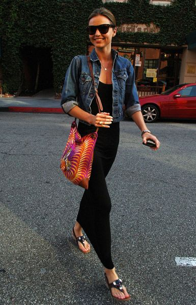 summer to fall outfit: Miranda Kerr, Fashion, Style, Jeans Jackets, Maxis, Outfit, Blackmaxi, Denim Jackets, Black Maxi Dresses