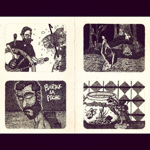 hegvannasche:  Psartek la pêche, all four parts! #rotring #moleskine #sketchbook #illustration #peche #fishing #cat #sea #sailor #river #poi...