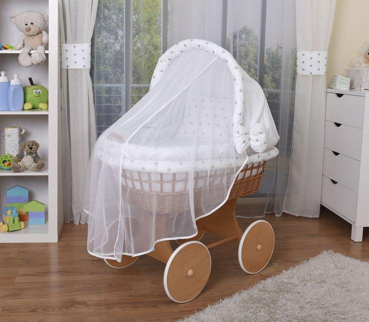 WALDIN Baby Bollerwagen,Stubenwagen XXL NEU !!! Weiß/Sterne Grau