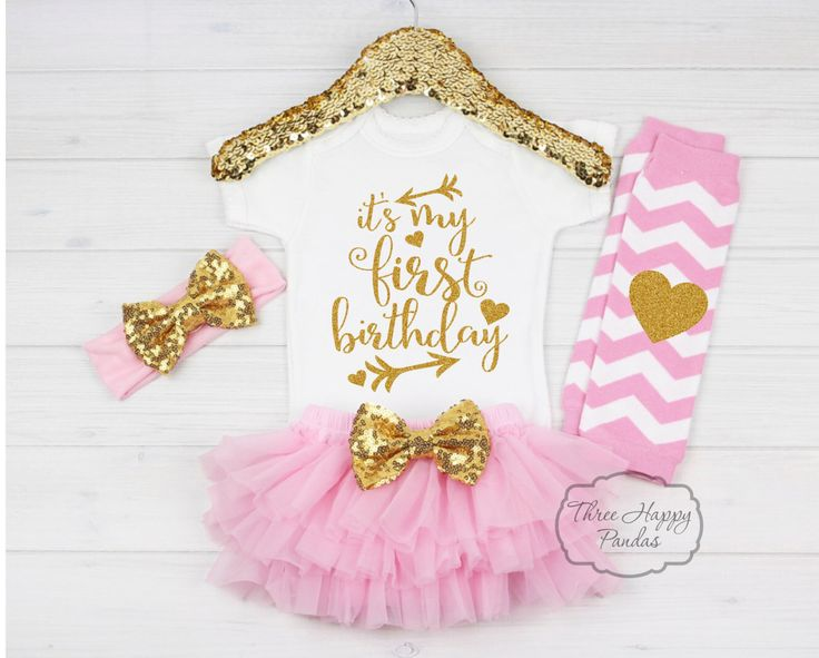 Girl First Birthday Outfit, First Birthday ONESIE® Sparkle Gold Pink Birthday…