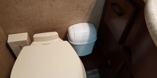 Camco 43961 Wall Mount Trash Can In Bathroom Rv Rvlife Rvliving Rving Rvmods Rvrepair Rvmaintenance Motorhome Rvgar Rv Upgrades Rv Interior Rv Repair