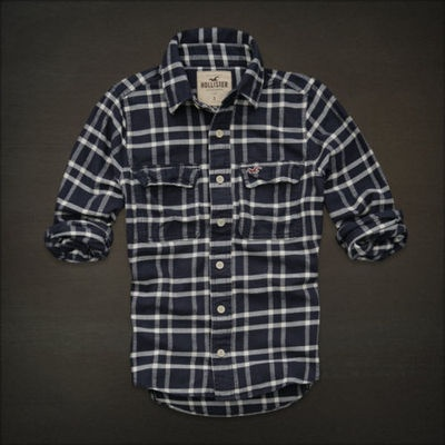 HOLLISTER By Abercrombie MENS CASUAL SHIRT FLANNEL PLAID S Navy