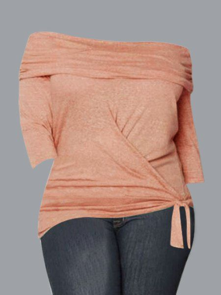Solid Color Plus Size Fashionable Off-The-Shoulder 3/4 Sleeve T-Shirt For Women