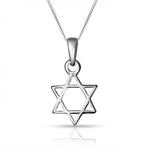 Bling Jewelry Open Star Of David Jewish Pendant Necklace Sterling Silver 18in