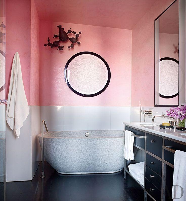 In A New York Master Bath, Peachy Venetian Plaster Walls Serve As The  Backdrop. Contemporary ...