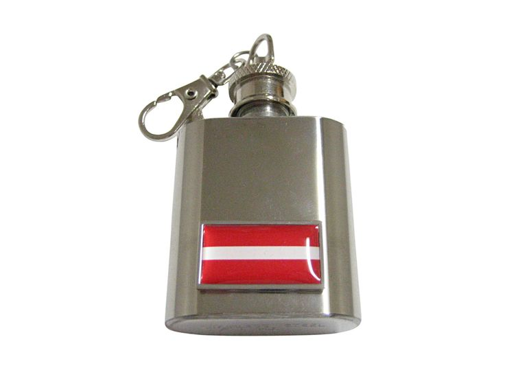 Thin Bordered Latvia Flag Pendant 1 Oz. Stainless Steel Key Chain Flask