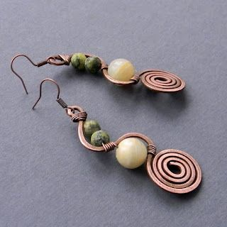 Wire wrapped earrings: Wire Jewelry, Wire Wraps Earrings, Earrings Wire, Jewelry Inspiration, Wire Spirals Ears, Inspiration Ideas, Copper Earrings, Wraps Earrings 3, Copper Wire Wraps