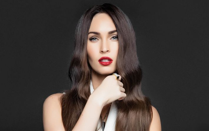 Download wallpapers Megan Fox, Beautiful brunette, american actress, portrait, make-up for brunettes