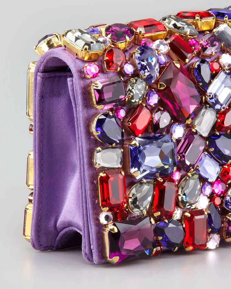 Prada Jeweled Satin Clutch Bag, Purple - Neiman Marcus #fashionbag
