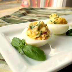 Garlic, Basil, and Bacon Deviled Eggs Allrecipes.com
