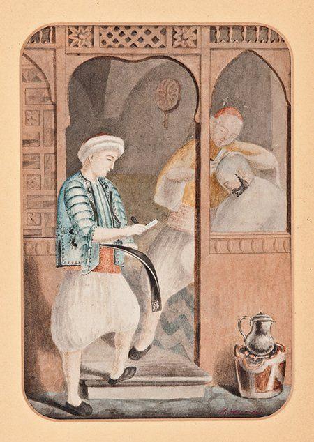 [Ottoman Empire] A Barber Shop, 18th Century (Osmanlı Berber Dükkanı)