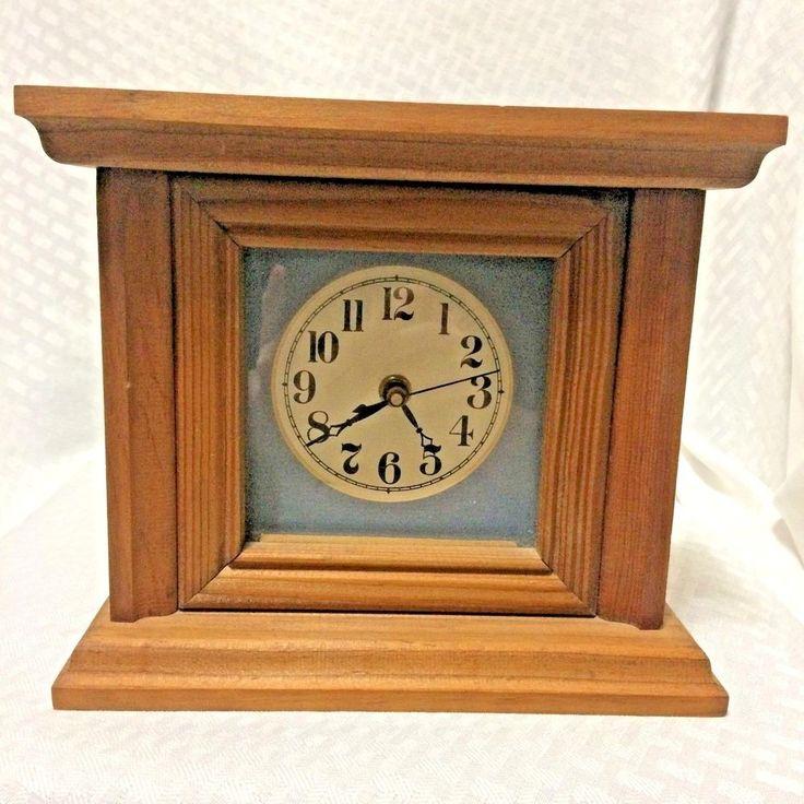 Wood Case Desk Mantle Shelf Clock Quartz AA Battery Operated Home Decor VTG #Unbranded #Unknown
